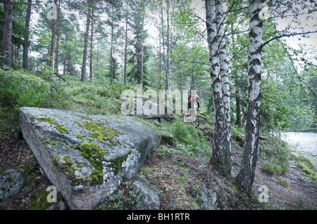Mountainbiker, Reiten durch den Wald, Lillehammer, Norwegen - Stockfoto