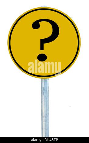 Ein Schild mit einem Fragezeichen auf es isoliert auf weiss. - Stockfoto