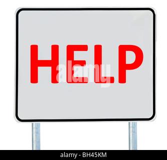 """Ein """"Hilfe""""-Zeichen, isoliert auf weiss. - Stockfoto"""