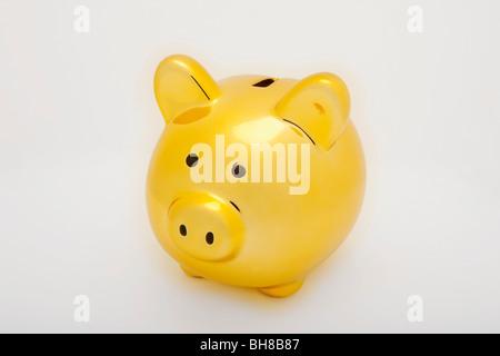 Eine gelbe Sparschwein - Stockfoto