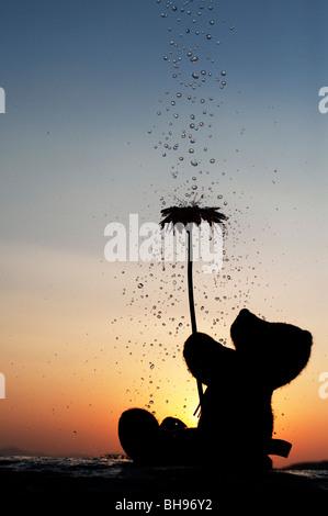 Teddy Bär Holding eine Blume mit Wassertropfen gießen über Sie bei Sonnenuntergang. Noch immer leben Silhouette - Stockfoto