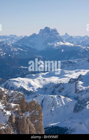 Pelmo Bergblick Sellagruppe, Dolomiten, Veneto, Italien - Stockfoto
