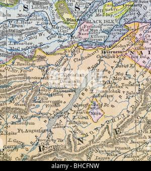 Loch Ness Karte.Original Alte Karte Von Loch Ness Von 1884 Geographie Lehrbuch