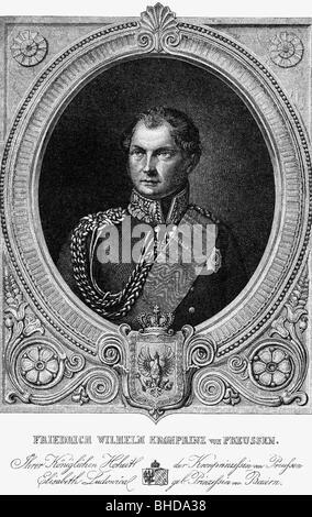 Friedrich Wilhelm IV., 15.10.1795 - 2.1.1861, König von Preußen 7.6.1840 - 26.10.1858, Porträt, Kupferstich von - Stockfoto