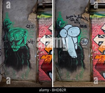 Auf lange Sicht, Entwicklung eines Stückes von Graffiti an der Wand (Vichy - Frankreich). Vichy, Évolution Dans - Stockfoto