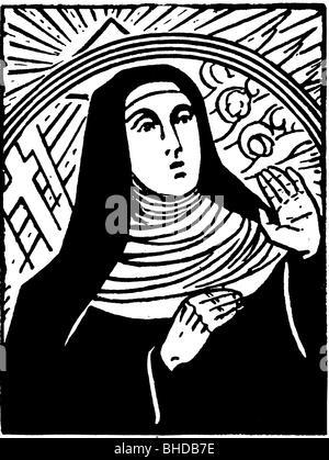 Hildegard von Bingen, ca. 1098 - 19.9.1179, Deutsche Heiliger, Nonne, Mystiker, Äbtissin des Klosters Bingen, halbe - Stockfoto