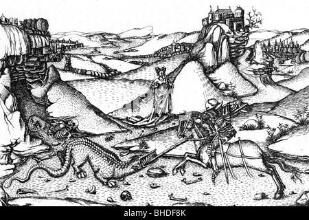 Saint George, + ca. 303, Märtyrer und Heiligen Helfer in Not, Kampf mit Drachen, Kupferstich von Meister L.A.N., - Stockfoto