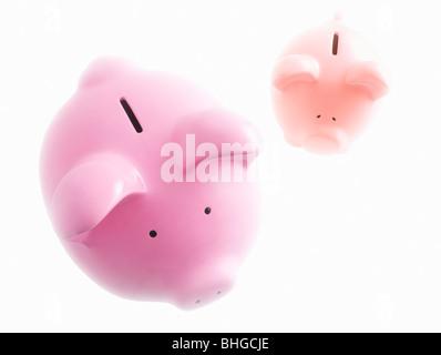Sparschweine auf weiß - Stockfoto