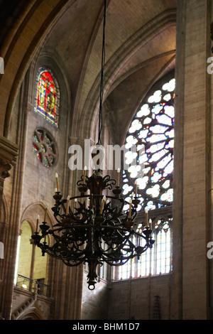 Innenseite Kathedrale Notre Dame de Paris, Paris, Frankreich - Stockfoto