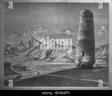 Gemälde der Burana-Turm auf der alten Silk Road, Bischkek, Kirgisistan - Stockfoto