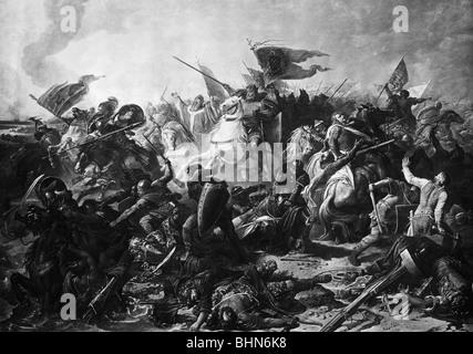 Otto I. 'der Große', 23.11.912 - 7.5.973, Heiliger römischer Kaiser 962 - 973, Schauplatz, Schlacht auf dem Lechfeld - Stockfoto