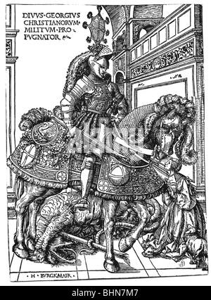 George, Saint, + ca. 303, Märtyrer, Heilige Helfer, volle Länge, zu Pferd, nach seinem Sieg über den Drachen, Holzschnitt - Stockfoto