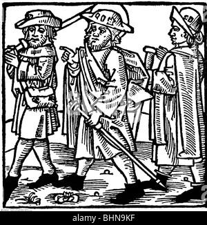 """Religion, Pilgerreise, Pilger unterwegs, Holzschnitt von """"Passionael efte dat levent of Hyllygen"""", 1499, - Stockfoto"""