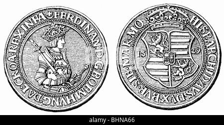 Geld/Finanzen, Münzen, Deutschland silber Thaler von Kaiser Ferdinand I., nach der Münze, auf der Vorderseite und - Stockfoto