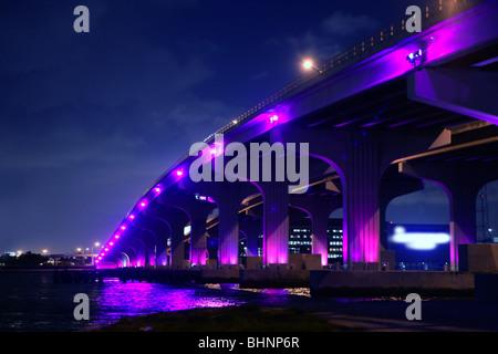 Miami Florida Brücke Nachtansicht A1A Mac Arthur Causeway - Stockfoto