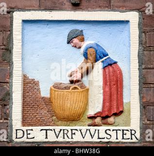 Amsterdamer Grachtenhaus antiken Plaque Wand tablet - Stockfoto