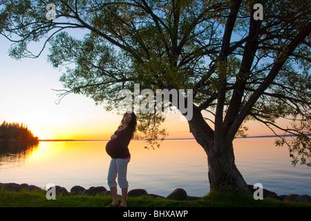Silohuette der schwangeren Frau bei Sonnenuntergang, Clear Lake, Manitoba, Kanada - Stockfoto