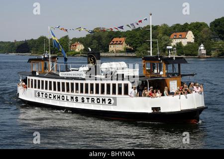 Fjäderholmslinjen Boot, Insel Fjäderholmarna, Stockholm, Schweden - Stockfoto