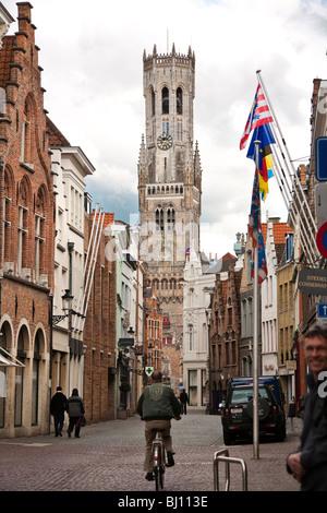 Bell Street Szene Glockenturm Brügge Belgien - Stockfoto