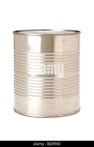 Blechdosen auf weißem Hintergrund Stockfoto