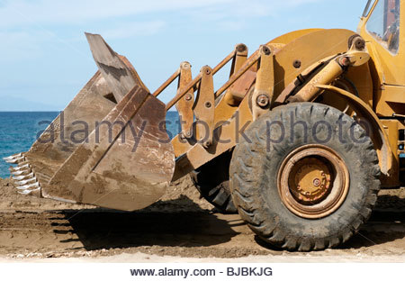 Vorderseite des gelben bagger stockfoto bild: 20010185 alamy