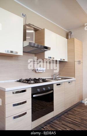 Edelstahl-Doppel-Waschbecken im modernen weißen Pantry-Küche mit ...