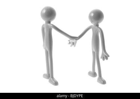 Kautschuk Figuren schütteln Hände - Stockfoto