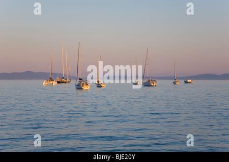 Hyères, Provence, Frankreich. Yachten in der Bucht verankert abseits der Presqu'Île de Giens, Sonnenuntergang. - Stockfoto