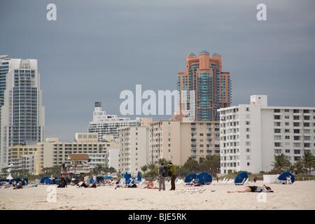 South Pointe Eigentumswohnungen, SoFi, South Beach, Miami, Florida - Stockfoto