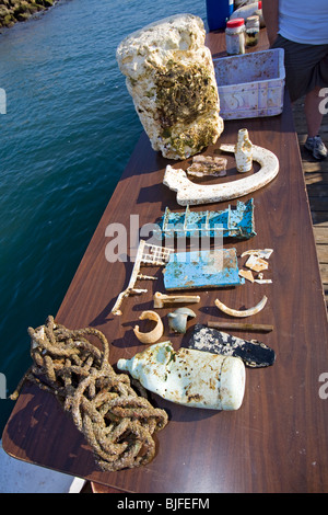 """Kunststoff-Proben """"und"""" Papierkorb in die North Pacific Gyre gesammelt. Long Beach, Kalifornien, USA. - Stockfoto"""
