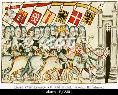 Heinrich VII., ca. 1275 - 24.8.1313, Heiliger römischer Kaiser 29.9.1312 - 24.8.1313, in Neapel, nach Miniatur, - Stockfoto