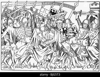 Heinrich VII., ca. 1275 - 24.8.1313, Heiliger römischer Kaiser 29.9.1312 - 24.8.1313, in der Schlacht, nach Miniatur, - Stockfoto