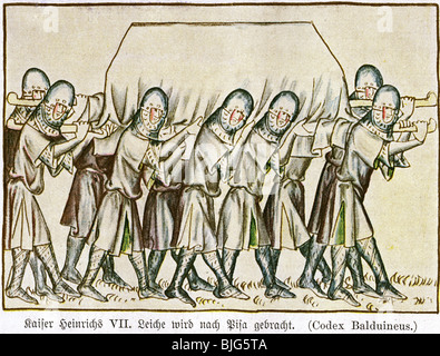 Heinrich VII., ca. 1275 - 24.8.1313, Heiliger römischer Kaiser 29.9.1312 - 24.8.1313, Tod, seine Leiche wird nach - Stockfoto