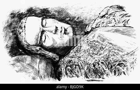 Heinrich VII., ca. 1275 - 24.8.1313, Heiliger römischer Kaiser 29.9.1312 - 24.8.1313, Porträt, Holzgravur, 19. Jahrhundert, - Stockfoto