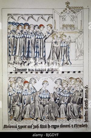 Heinrich VII., ca. 1275 - 24.8.1313, Heiliger römischer Kaiser 29.9.1312 - 24.8.1313, am Schrein der Magi in Köln, - Stockfoto