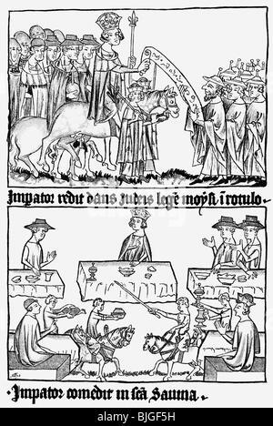 Heinrich VII., ca. 1275 - 24.8.1313, Heiliger römischer Kaiser 29.9.1312 - 24.8.1313, der von der Krönung zum Kaiser - Stockfoto