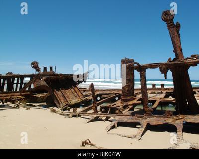 Das Wrack der SS Maheno Schiff auf Fraser Island in Australien - Stockfoto