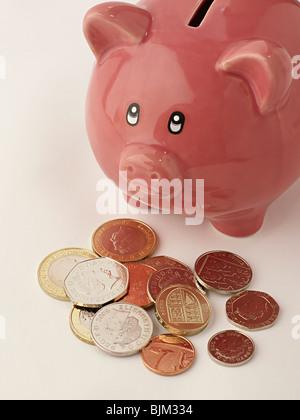 Rosa Sparschwein mit Geld vor - Stockfoto