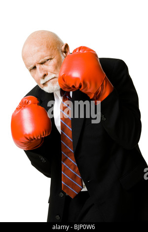 Nahaufnahme der Geschäftsmann mit Boxhandschuhen - Stockfoto