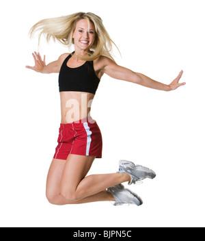 Person in die Luft springen - Stockfoto
