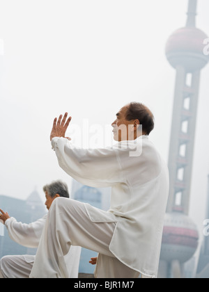 Senioren Tai Chi üben. - Stockfoto