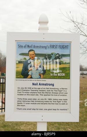 Neil Armstrong erster Flug Zeichen. - Stockfoto
