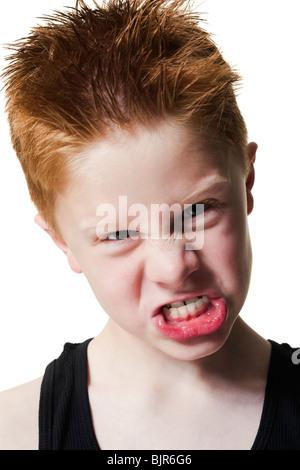 Lustiges Gesicht ziehen junge - Stockfoto