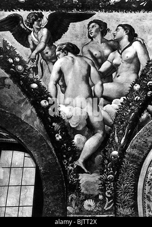 """Cupid, der griechische gott der Liebe, der Szene, Cupid und die Drei Grazien, Fresko, aus dem Zyklus """"Cupid und - Stockfoto"""