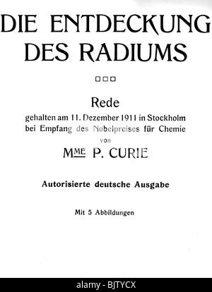 Curie, Marie, 7.11.1867 - 4.7. 1934, französische Wissenschaftler (Chemiker und Physiker), polnischer Herkunft, - Stockfoto