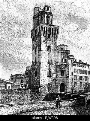 Galilei, Galileo, 15.2.1564 - 8.1.1642, Italienische Wissenschaftler (Physiker), seine Sternwarte in Padova, Holzstich, - Stockfoto