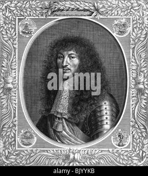 Louis XIV., 5.9.1638 - 1.9.1715, König von Frankreich 1643-1715, Porträt, Kupferstich von Poilly, nach dem Lackieren - Stockfoto