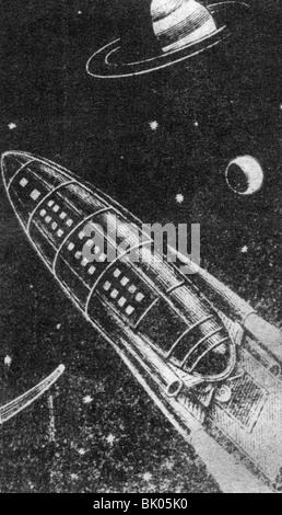 Tsiolkovskii, Konstantin Eduardovich, 17.9.1857 - 19.9.1935, russischer Physiker, Mathematikhistoriker, Rakete im - Stockfoto