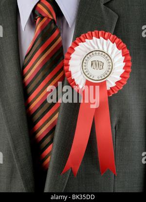 Rosette rot Gewinner - Stockfoto