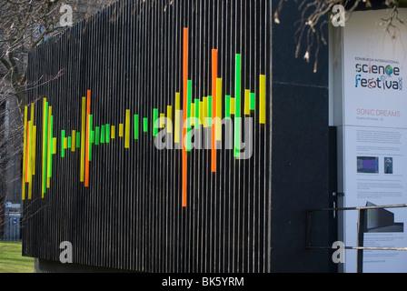 Dekorative Plexiglas Muster auf die Abendkasse für das Science Festival in Edinburgh. - Stockfoto